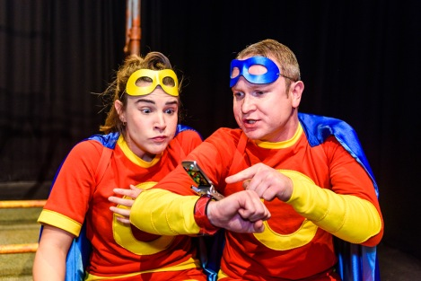 DINNER TIME -Luke Walker as Captain Clever and Emily Spowage as Captain Conker  - TADPOLES - Photos by  Lewis Wileman