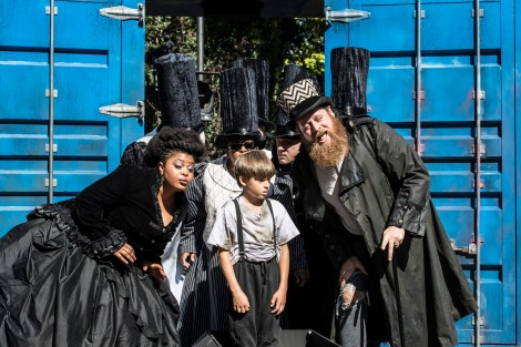 Gbemisola Ikumelo (Mrs Corney), Lewis Fernée (Oliver) and Daniel Hoffmann-Gill (Mr Bumble) in Oliver Twist Created For Everyone  Photo Johan Persson..jpg